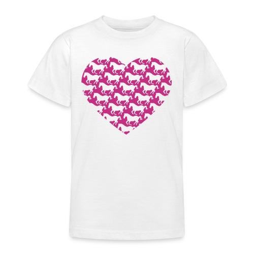 Pferde /  Herz / pink - Teenager T-Shirt