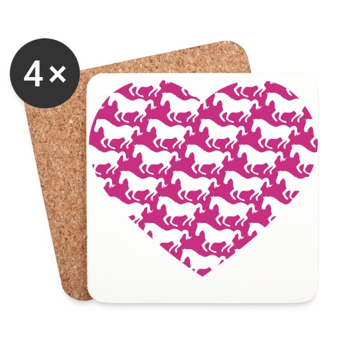 Pferde /  Herz / pink - Untersetzer (4er-Set)