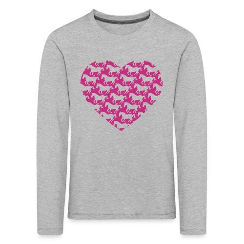 Pferde /  Herz / pink - Kinder Premium Langarmshirt