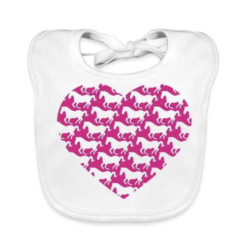 Pferde /  Herz / pink - Baby Bio-Lätzchen