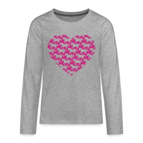 Pferde /  Herz / pink - Teenager Premium Langarmshirt