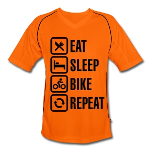 Orange/Black Mens Football Jersey Style Cycling Tee - Men's Football Jersey