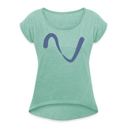 Welle Wellen, abstracktes Design, - Frauen T-Shirt mit gerollten Ärmeln