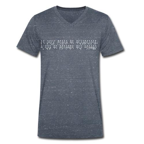 T-shirt bio col V Stanley & Stella Homme - Modèle : le seul moyen de destresser, c'est de prendre des congés  Pour rappel : C'est un braille imprimé (sans le relief) A savoir : Les graphismes sont de couleurs noirs, donc privilégiez le choix des couleurs claires pour les produits