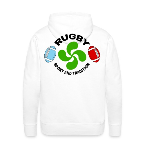 Rugby - Basque sport and tradition - Sweat-shirt à capuche Premium pour hommes