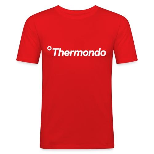 Herren T-Shirt Slim Fit rot Logo - Männer Slim Fit T-Shirt