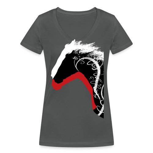 Drei Pferde - Frauen Bio-T-Shirt mit V-Ausschnitt von Stanley & Stella