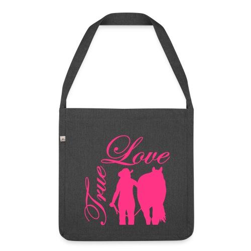 True Love/ Neonpink - Schultertasche aus Recycling-Material