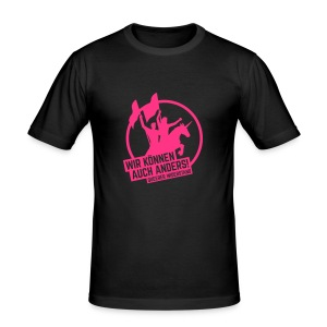 Slimfit T-Shirt Men black-pink - Männer Slim Fit T-Shirt