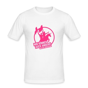 Slimfit T-Shirt Men white-pink - Männer Slim Fit T-Shirt