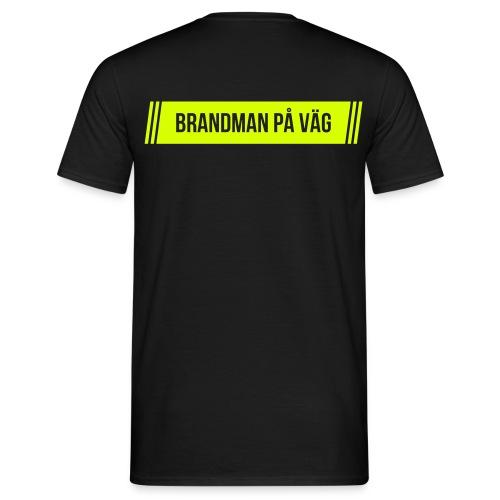 Brandman på väg - Noeongult tryck - T-shirt herr