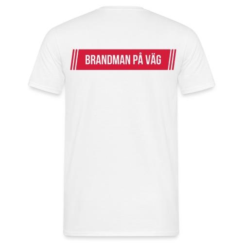 Brandman på väg - Rött tryck - T-shirt herr