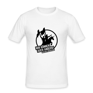 Slimfit T-Shirt Men white-black - Männer Slim Fit T-Shirt