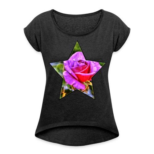Rosen-Stern-Lila - Frauen T-Shirt mit gerollten Ärmeln