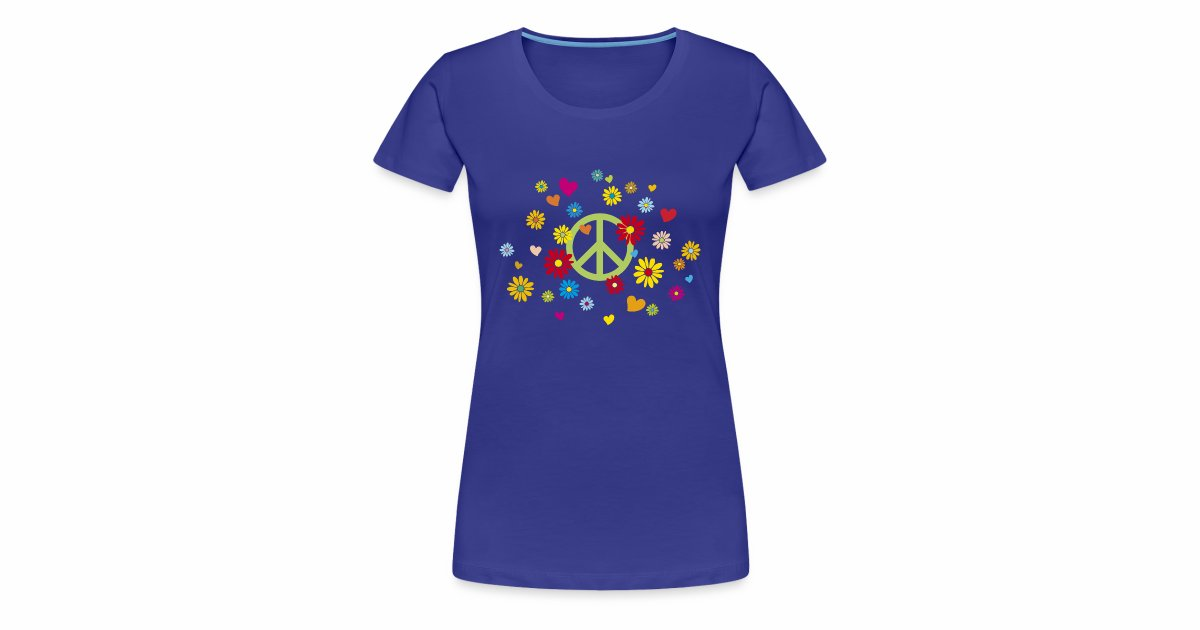 T-Shirts und tee-shirts | Frauen T-Shirt Peace Blumen Herzen ...