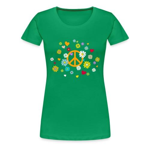 Frauen T-Shirt Peace Blumen Herzen Valentin - Women's Premium T-Shirt