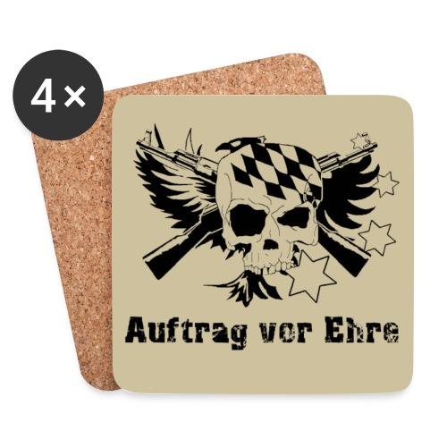 Untersetzer 4Pack , klassisch Logo, klassischer Spruch auf Sand/Beige - Untersetzer (4er-Set)