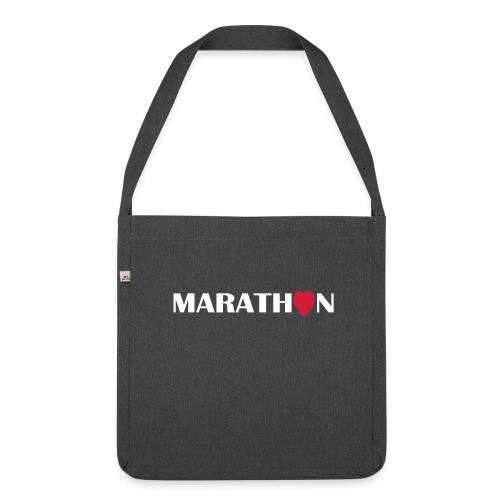 Schultertasche: I love running Marathon - Schultertasche aus Recycling-Material