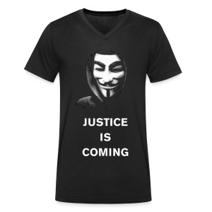 Justice Is Coming V T-Shirt MEN - Men's Organic V-Neck T-Shirt by Stanley & Stella