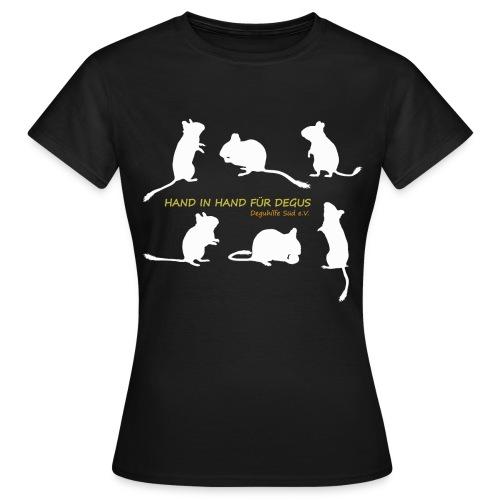Hand in Hand für Degus - Schattenriss - Frauen T-Shirt