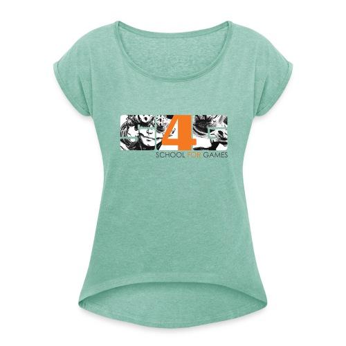 Student Art T-Shirt Girl - Frauen T-Shirt mit gerollten Ärmeln