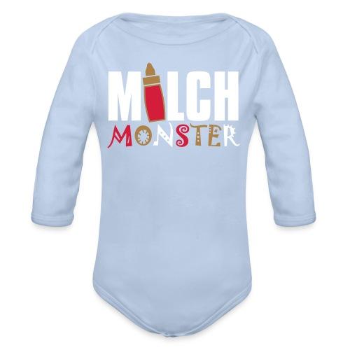 Milch Monster, Baby-Body, Blau - Baby Bio-Langarm-Body