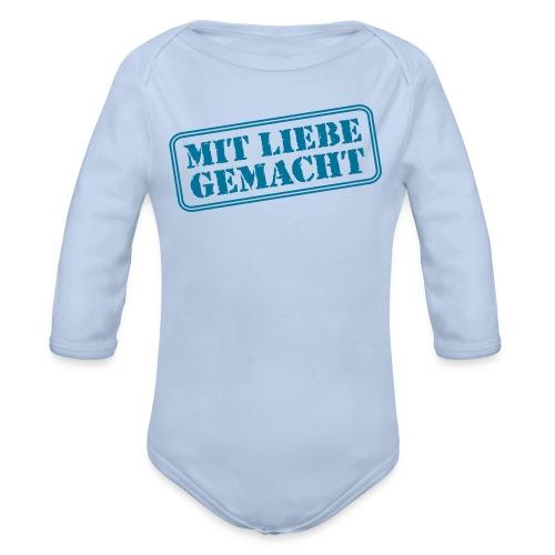 MIT LIEBE GEMACHT, Blau - Baby Bio-Langarm-Body