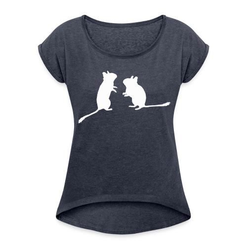Degu-Duo (ohne Text) - Frauen T-Shirt mit gerollten Ärmeln
