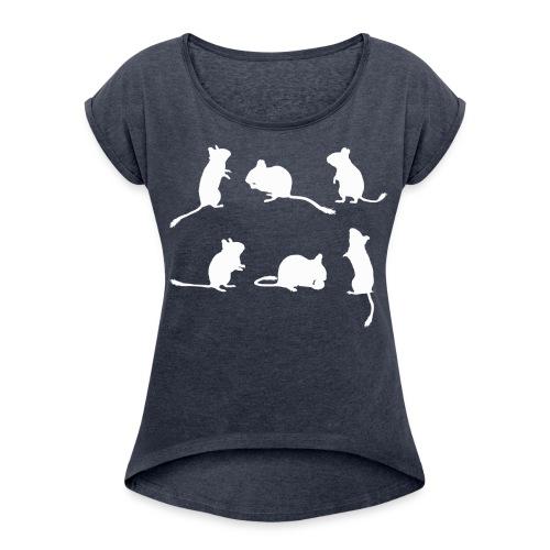 Degu-Schattenrisse (ohne Text) - Frauen T-Shirt mit gerollten Ärmeln