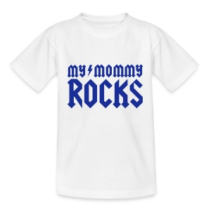Weiß My mommy rocks T-Shirts - Kinder T-Shirt