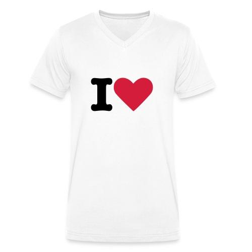 T-Shirt I Love - Männer Bio-T-Shirt mit V-Ausschnitt von Stanley & Stella