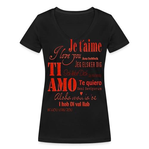 T-shirt Love - T-shirt ecologica da donna con scollo a V di Stanley & Stella