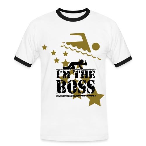 T-Shirt - Hvid : Im The Boss - Guldfarvede - Herre kontrast-T-shirt