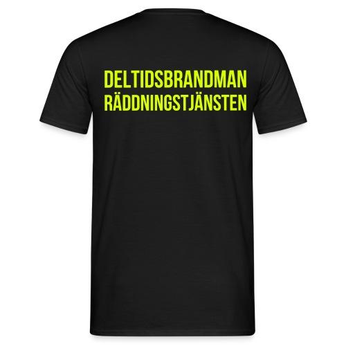 Deltidsbrandman - Neongult tryck - T-shirt herr