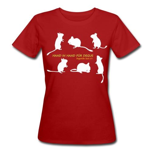 Hand in Hand für Degus - Schattenriss - Frauen Bio-T-Shirt