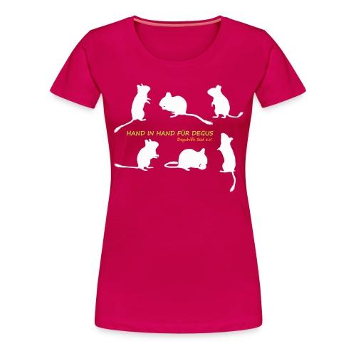 Hand in Hand für Degus - Schattenriss - Frauen Premium T-Shirt
