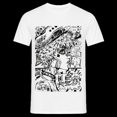 Femme rebelle manga Dark Rock avec casquette et cigarette - T-shirt Homme