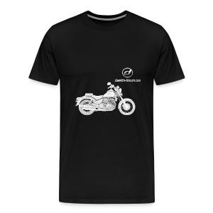 Daelim Daystar Modell-Zeichnung + Vogel Fläche auf TShirt (und Logo und Forum URL) und Vogel Fläche auf Rücken - Männer Premium T-Shirt
