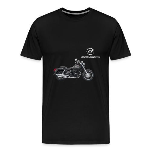 Daelim Daystar + Vogel Fläche auf TShirt (und Logo und Forum URL) und Vogel Fläche auf Rücken - Männer Premium T-Shirt
