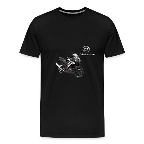 Daelim Roadwin Modell + Vogel Umriss auf TShirt (mit Logo und Forum-URL) und Vogel Umriss auf Rücken - Männer Premium T-Shirt