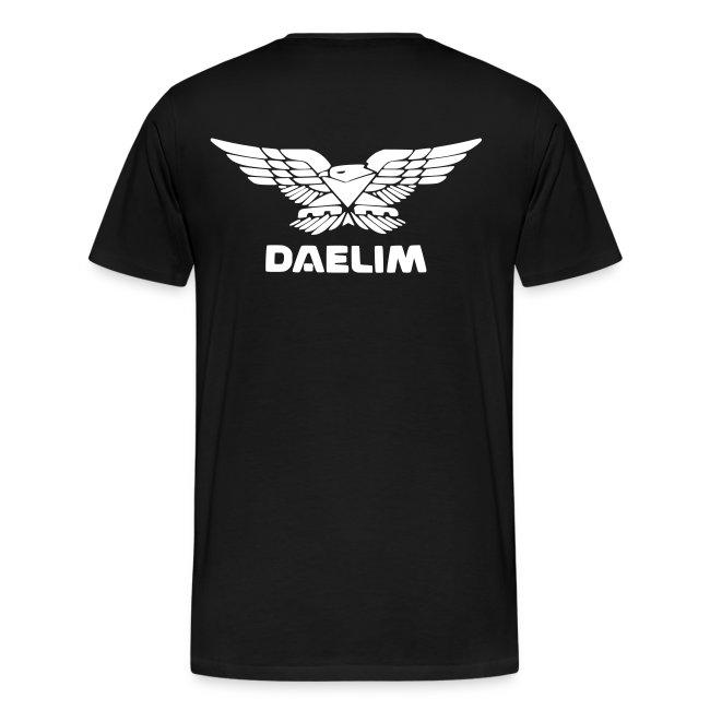 Daelim S300 Modell-Zeichnung + Vogel Fläche auf TShirt (mit Logo und Forum-URL) und Vogel Fläche auf Rücken