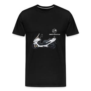 Daelim S300 + Vogel Umriss auf TShirt (mit Logo und Forum-URL) und Vogel Umriss auf Rücken - Männer Premium T-Shirt