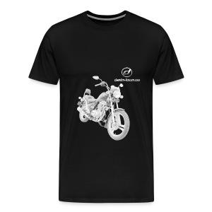 Daelim VS Modell-Zeichnung + Vogel Umriss auf TShirt (mit Logo und Forum-URL) und Vogel Umriss auf Rücken - Männer Premium T-Shirt