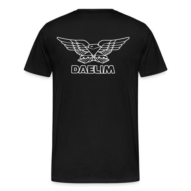 Daelim VS Modell-Zeichnung + Vogel Umriss auf TShirt (mit Logo und Forum-URL) und Vogel Umriss auf Rücken