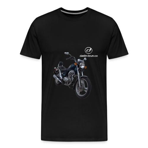 Daelim VS + Vogel Umriss auf TShirt (mit Logo und Forum-URL) und Vogel Umriss auf Rücken - Männer Premium T-Shirt