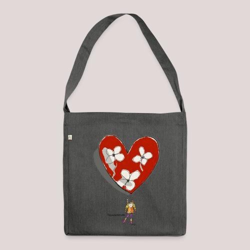 little girl with heart - Borsa in materiale riciclato
