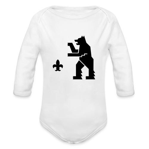 HeMeläiseksi syntynyt-body, mustalla logolla - Vauvan pitkähihainen luomu-body