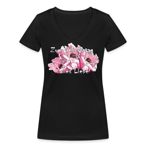Zum Geburtstag alles Liebe - Frauen Bio-T-Shirt mit V-Ausschnitt von Stanley & Stella