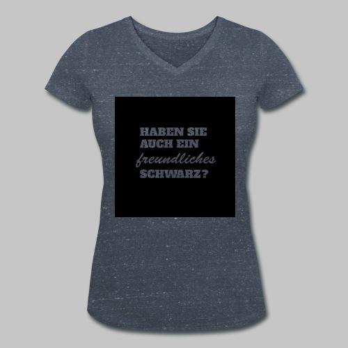 Freundliches Schwarz - Frauen Bio-T-Shirt mit V-Ausschnitt von Stanley & Stella