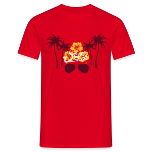 T-shirt Hibiscus Palmiers Sunglasses Rouge - T-shirt Homme